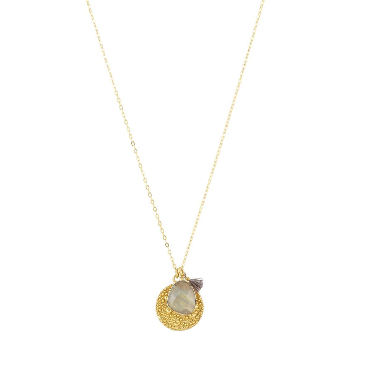 Spell Coin Necklace with semi precious gemstone by Ashiana