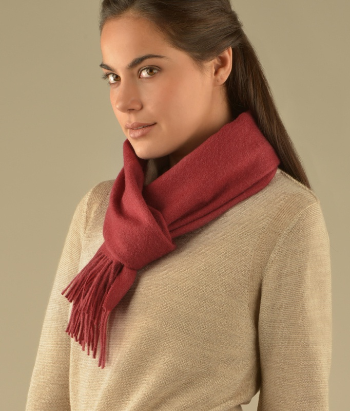 LONG BRUSHED SCARF ROSEWOOD RED RJ12952