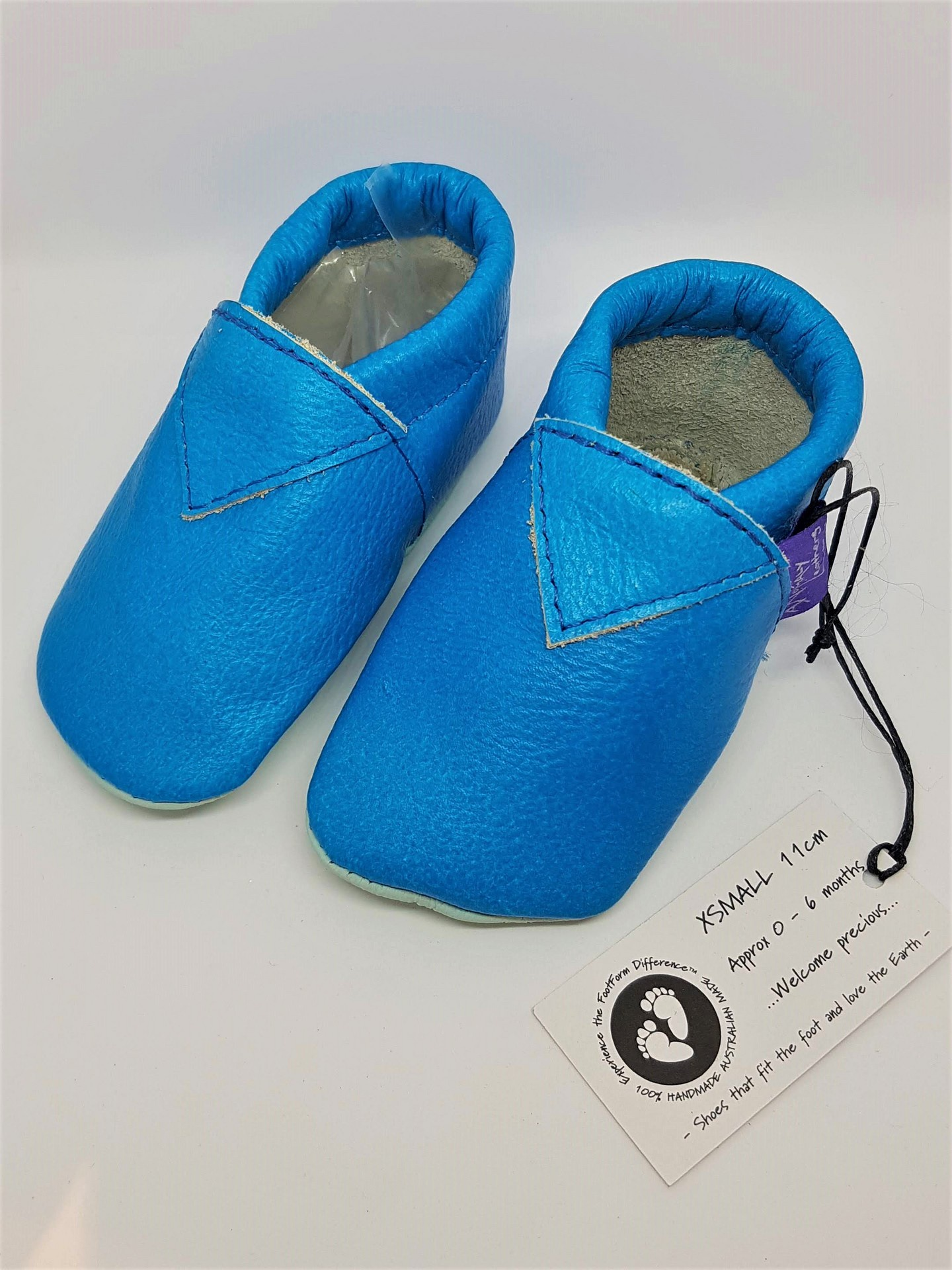 Bright Blue Leather baby Shoes - Newborn