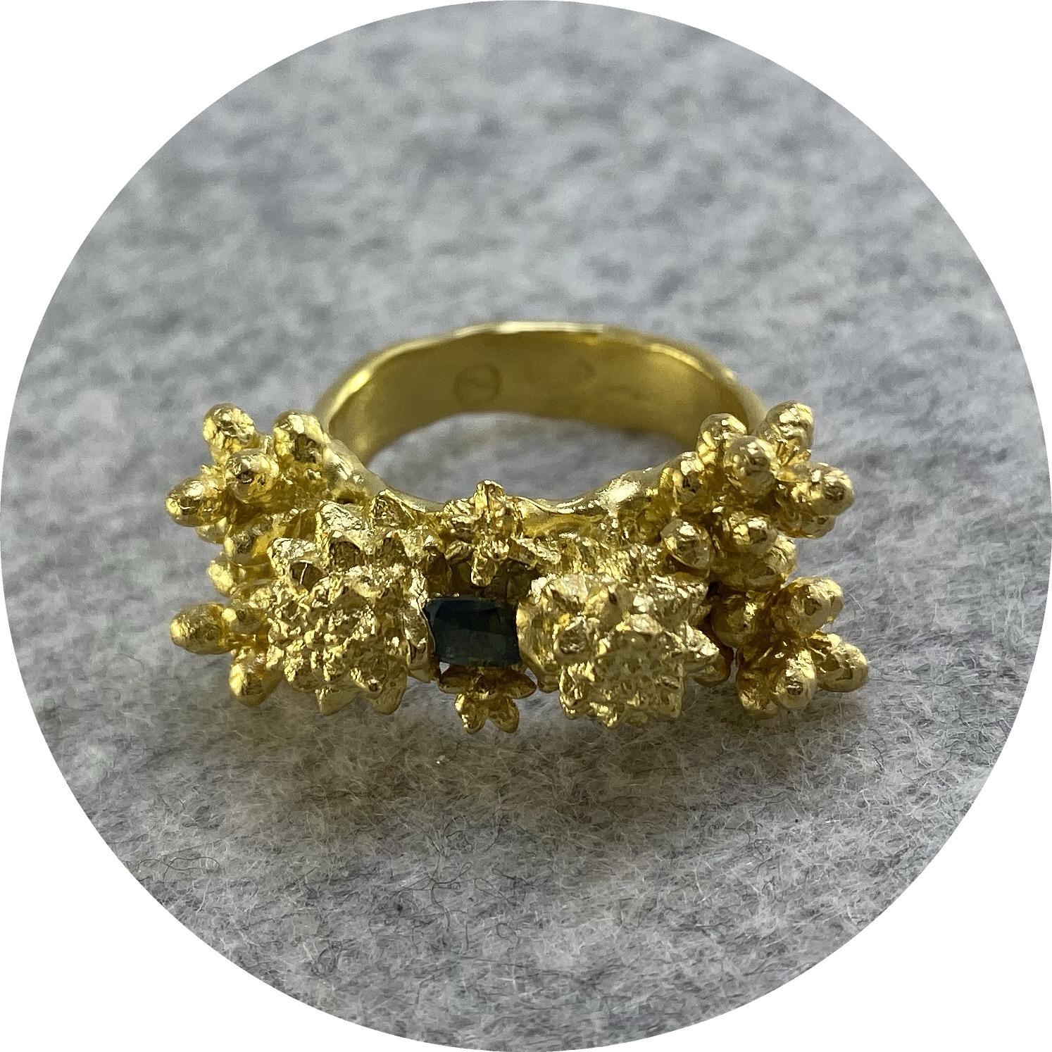 Manuela Igreja- Enchanted Forrest Ring. Yellow gold plated sterling silver. Parti sapphire QLD. Size M.