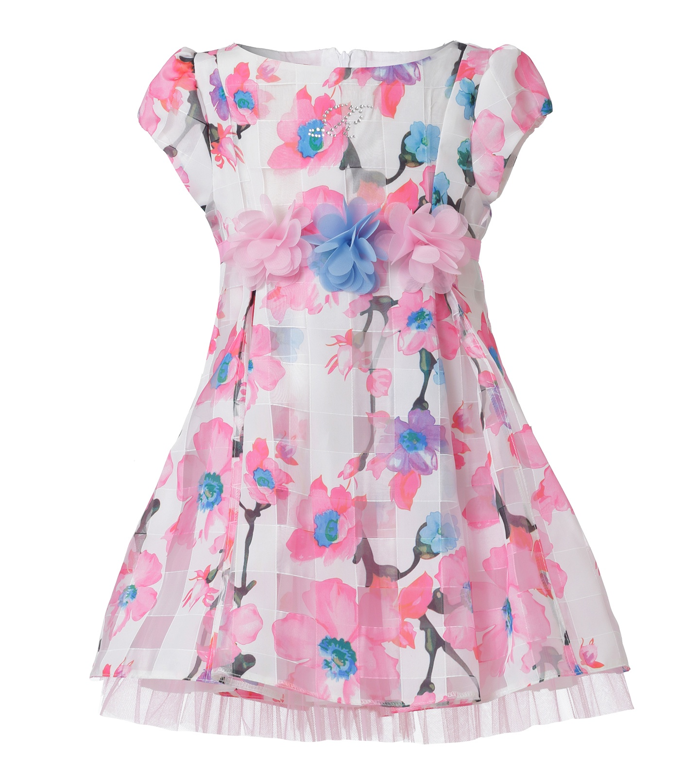 61rbg109 Dress White With Pink Baby Blue Flowers Mini Raxevsky