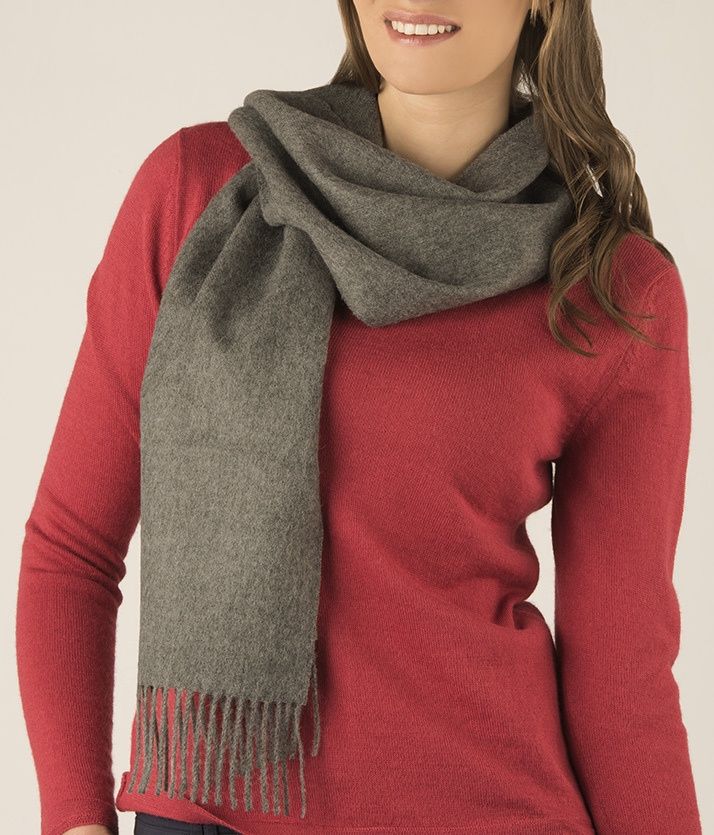 BRUSHED SCARF MID GREY 435