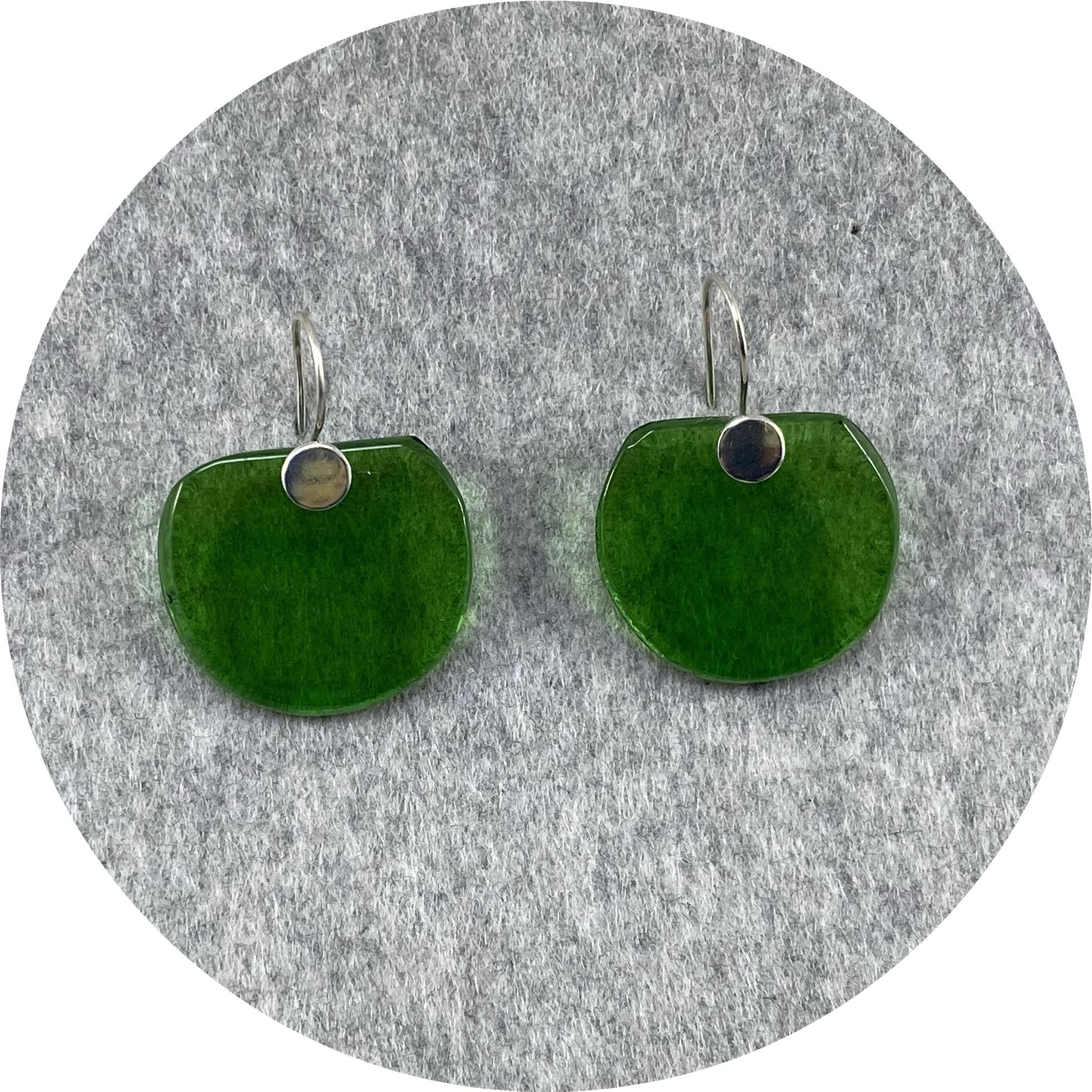 Alight Glass - Bottle Green Half Circle Earrings, Glass, Sterling Silver
