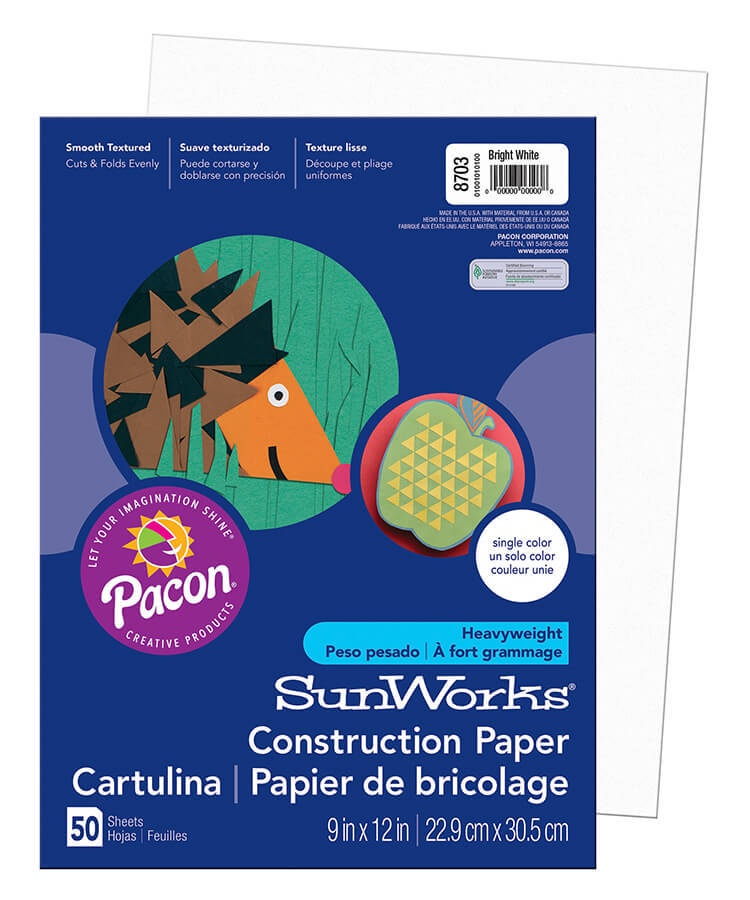 PA 8703 CONSTRUCTION PAPER 9 x 12 BRIGHT WHITE