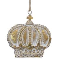 Gold W/White Wash Hanging Crown