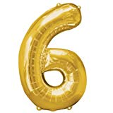 NUMBER 6 GOLD BALLOON 34 INCH