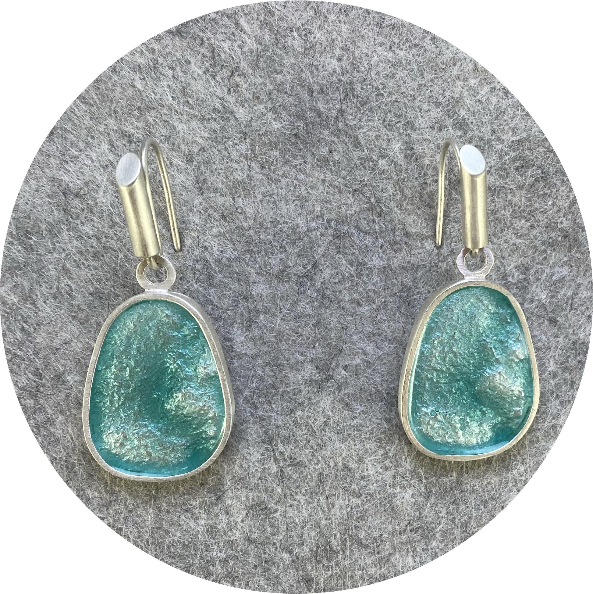 Robyn Clarke- Medium retic earring drops on long hoops in seafoam  green.