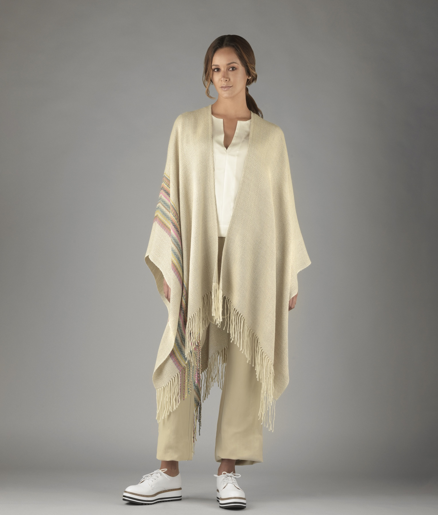 Simplicity Long Fringed Cape C001