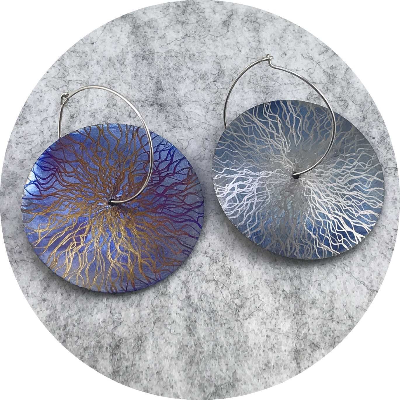 Tanja Von Behrens - Large Circle Lighting Storm Earrings in Sterling Silver and Heat Coloured Titanium.