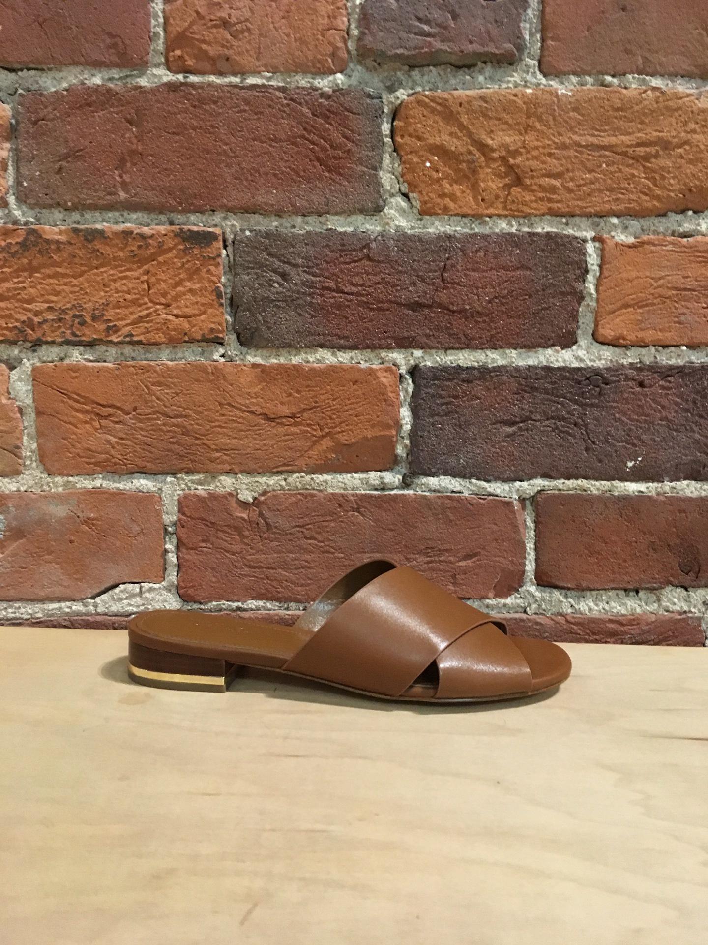 49c3f0af8047e4 MICHAEL KORS - SHELLY FLAT SANDAL IN LUGGAGE - the Urban Shoe Myth