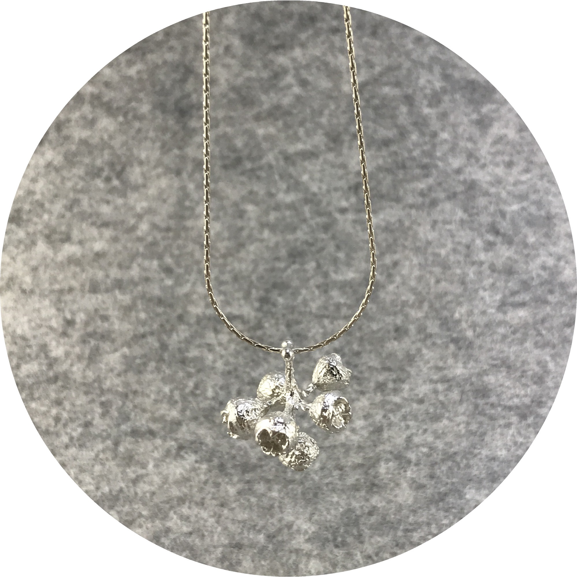 Abby Seymour- Gum nut cluster Amulet. Sterling silver.