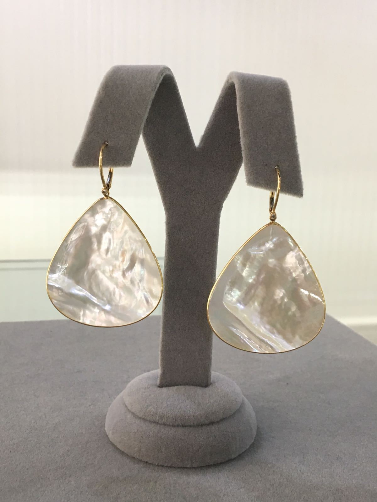 SALE! White Mother-of-Pearl and Diamond Earrings