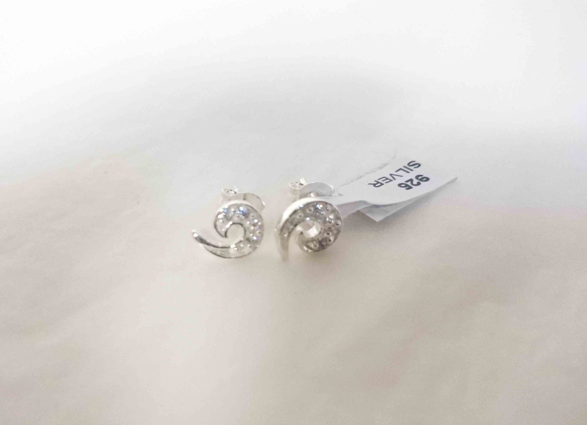Earring Studs Stg Silver and Crystal Spiral 8mm