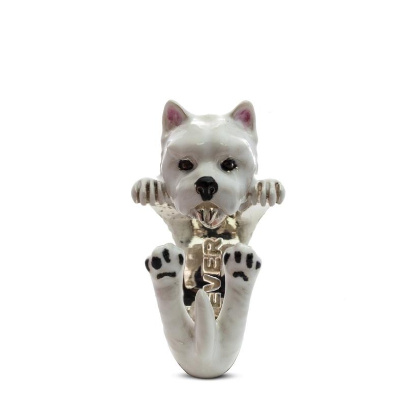 West Highland Enamelled Sterling Silver Hug Ring
