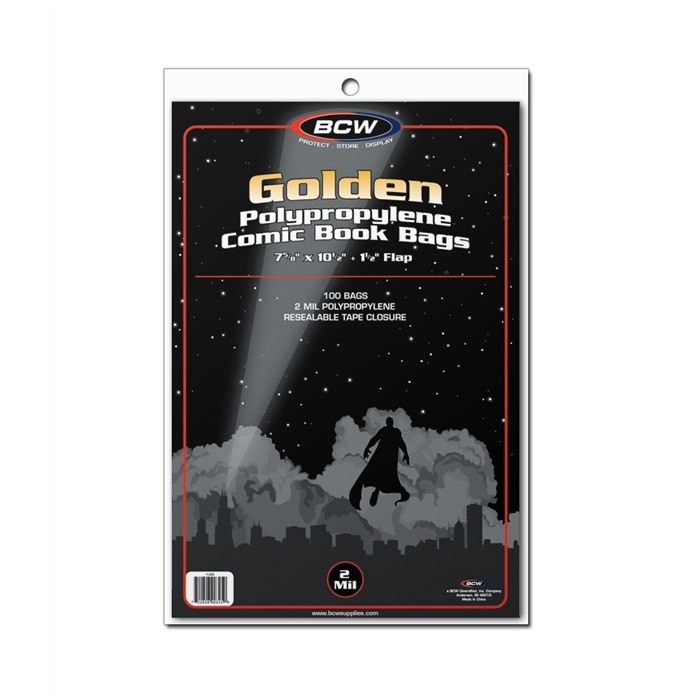BCW Golden Comic Bags 100 Pack