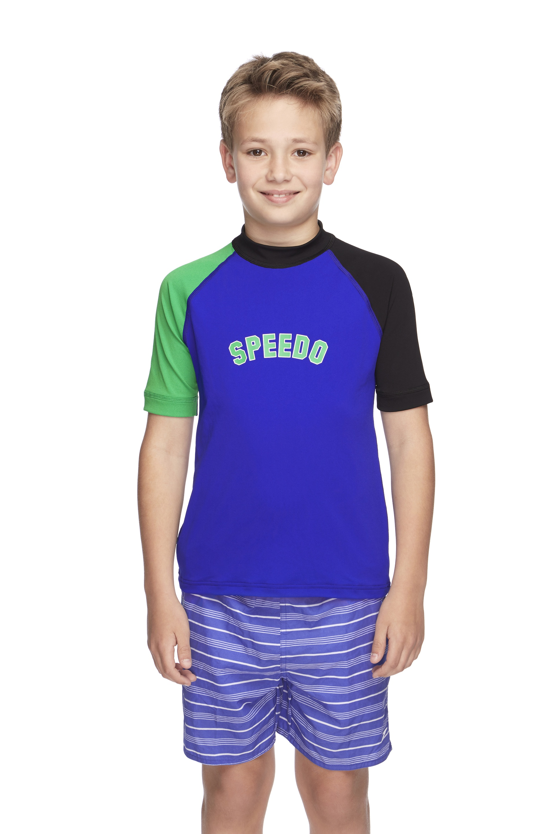Boys Logo Short Sleeve Sun Top Black/Speed/Vine