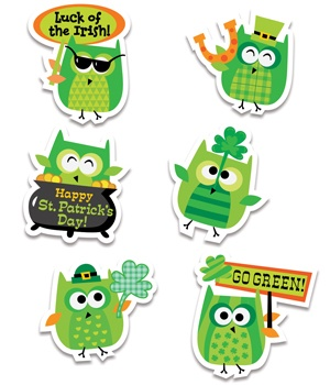 CTP 2109 ST. PATRICK'S DAY OWL STICKERS