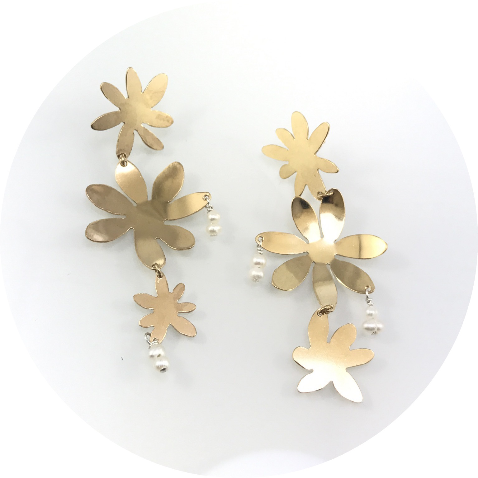 Ada Hodgson - Memories of Mission Beach 2 gold plated sterling silver and  fresh water pearls drop earrings