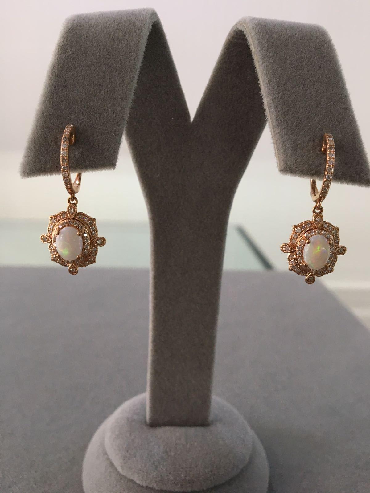 Rose Gold Diamond & Opal Earrings