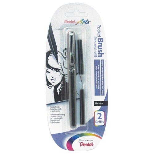 Pentel Pocket Brush Pen with Cartridge Refills x2