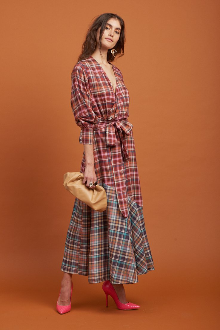 Le Stripe Total Eclipse Wrap Dress in Heritage Check