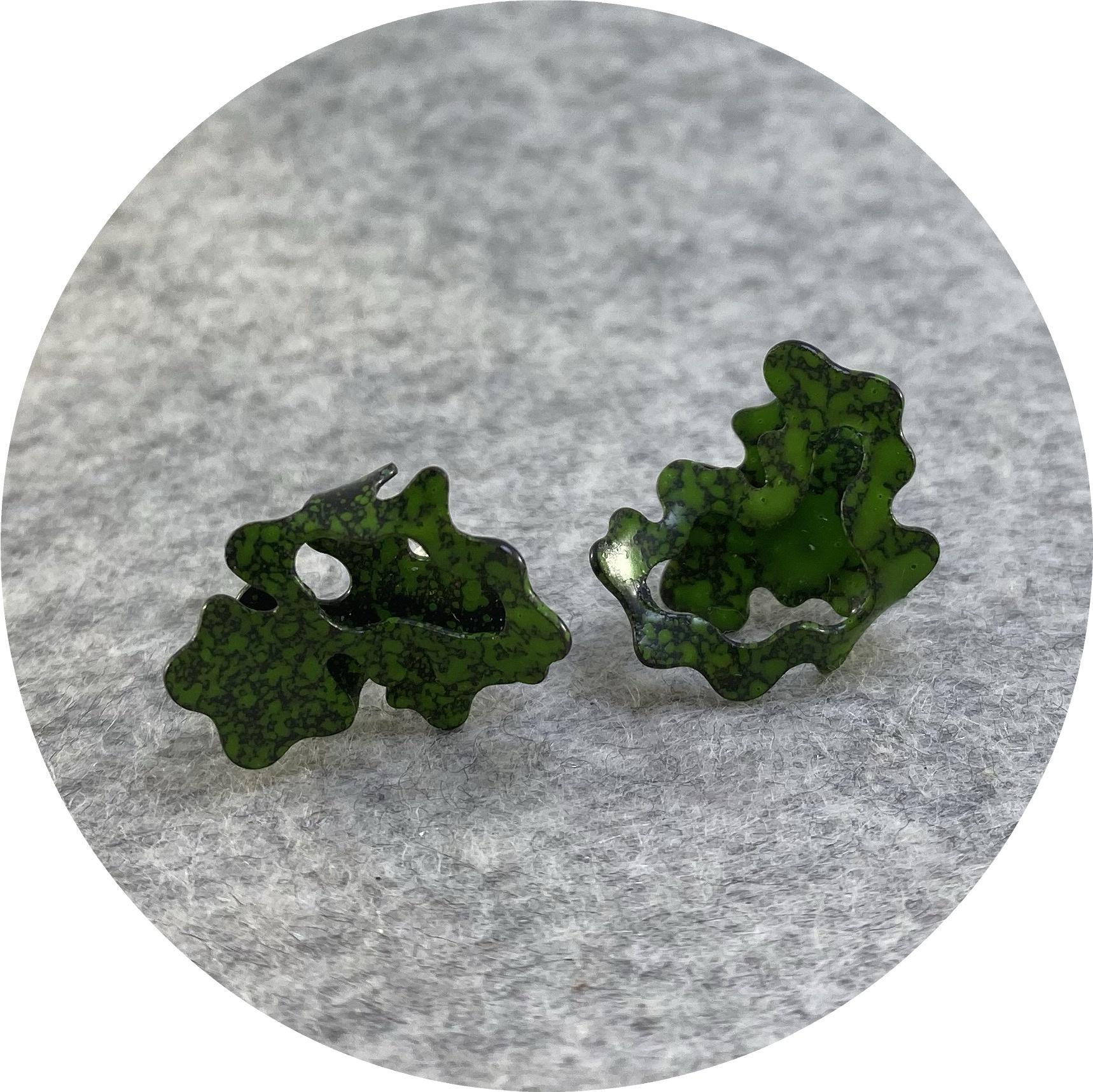 Cassandra Prinzi - 'Coral Clamshell Earrings Moss Green on Black', copper, powder coat, enamel paint, 925 silver