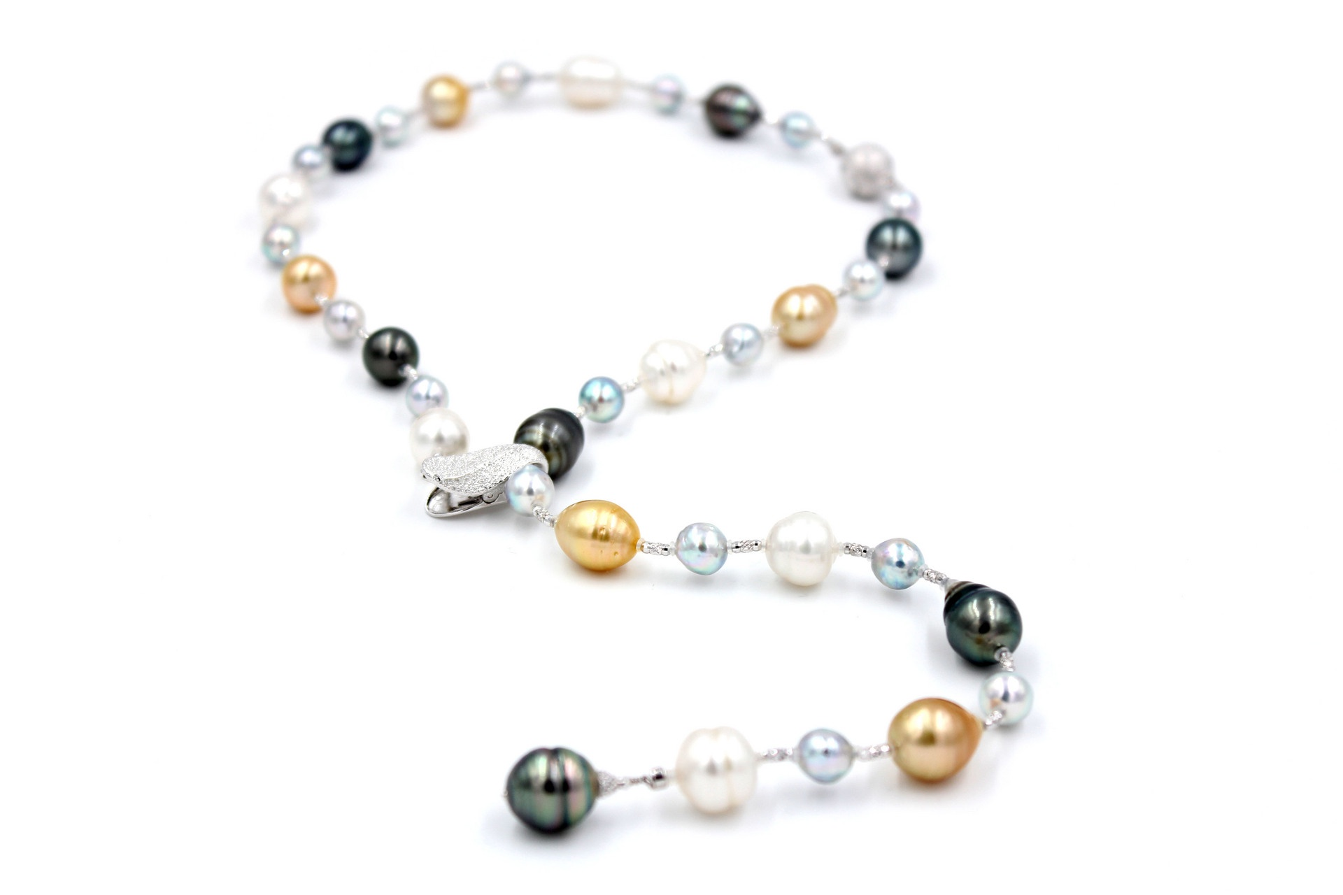 Colourful South Sea Pearl Necklace/Bracelet Combination with Japanese 18K White Gold and Globes