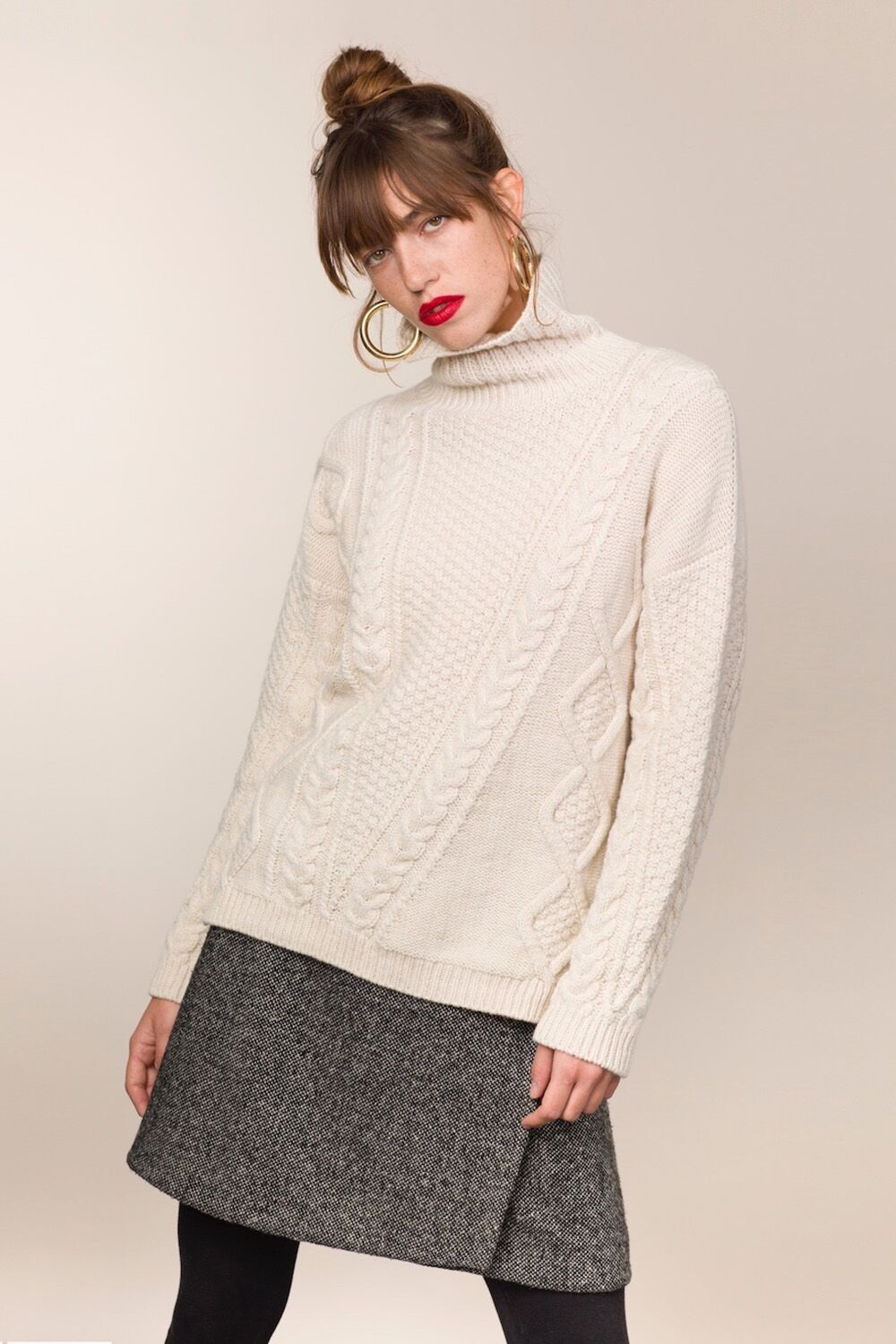 Aran Cabled Mock Neck Sweater Designs Of Ireland