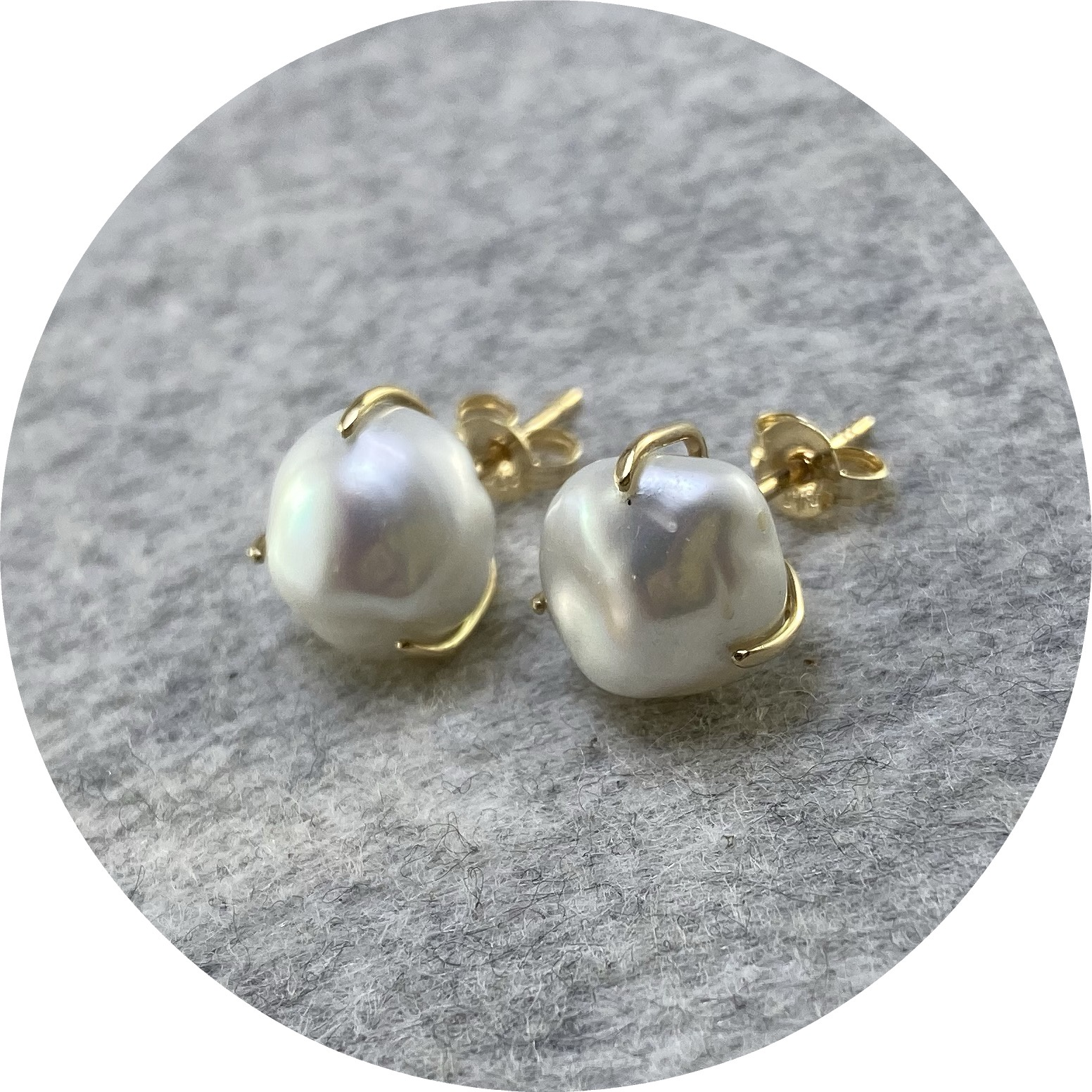 Angela Natalier - 'Satellite Studs with Baroque Pearls', 9ct yellow gold, pearl