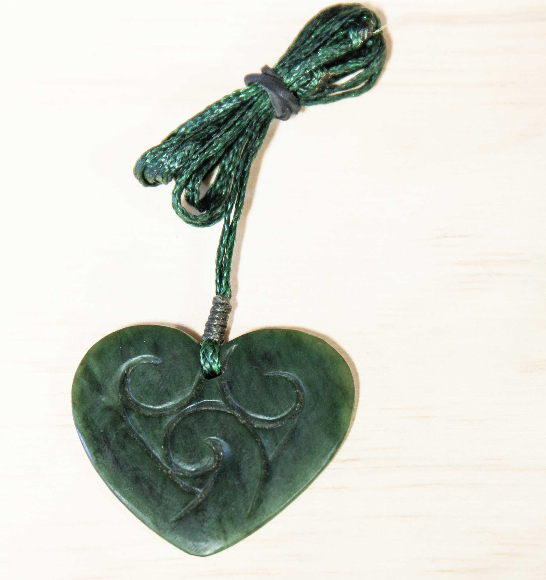 Pounamu Heart with 3 Koru Pendant