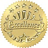 T 74003 EXCELLENCE (GOLD) AWARD SEAL STICKERS