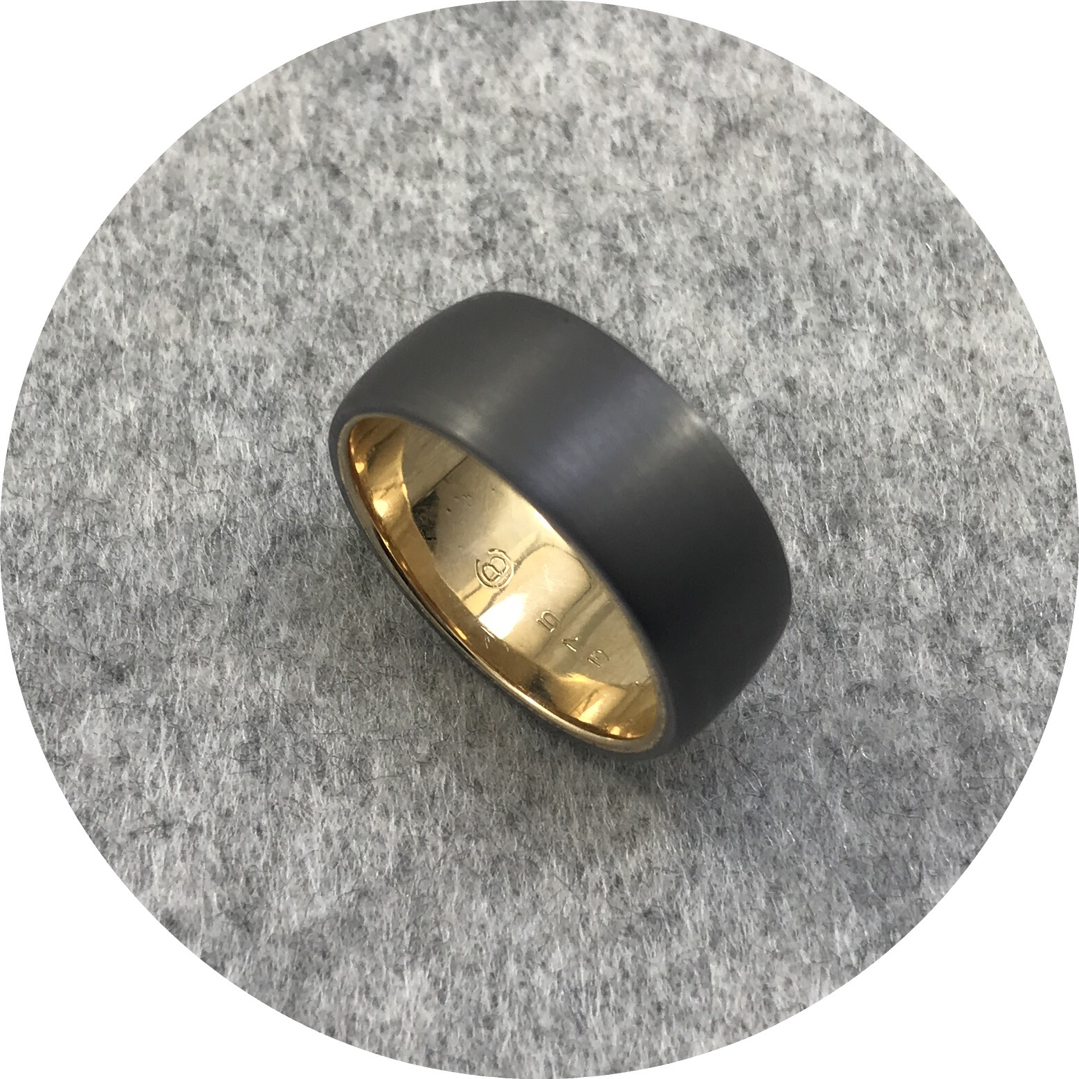 Brendan Cunningham - Tantalum and 18ct Yellow Gold Barrel 8.5mm Wide Band
