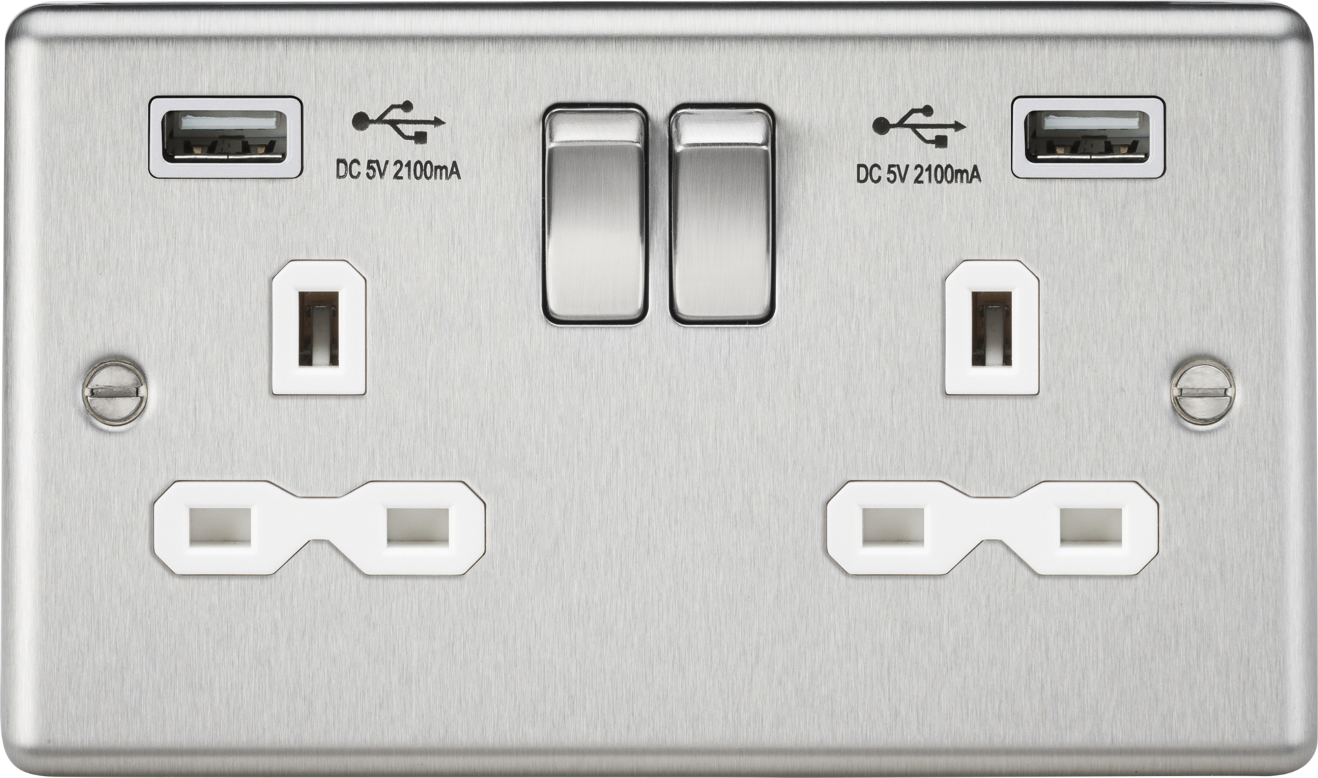 13A 2G SWITCHED SOCKET, DUAL USB CHARGER SLOTS W/WHITE INSERT - ROUNDED EDGE BRUSHED CHROME