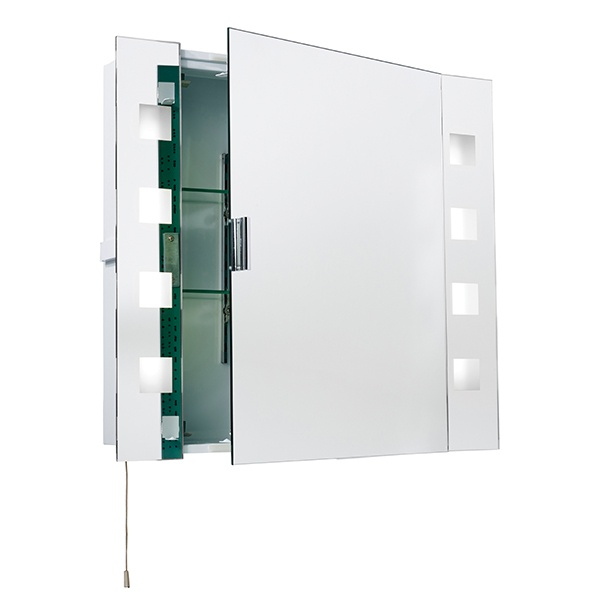 Milos shaver cabinet mirror HF IP44 15W SW wall - mirrored glass