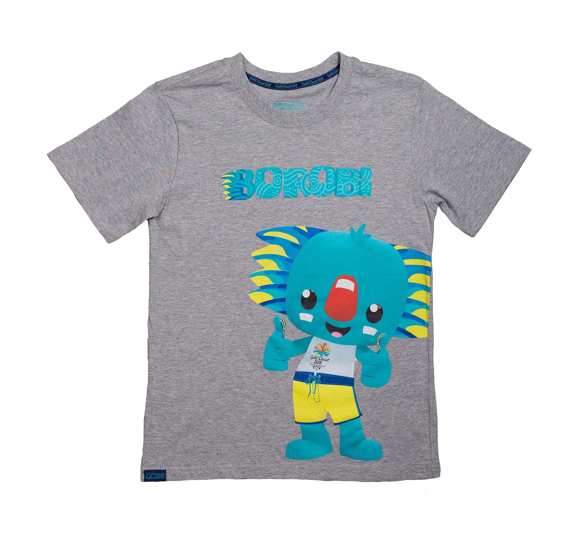 Junior Borobi Mascot T-Shirt Grey Marle Image