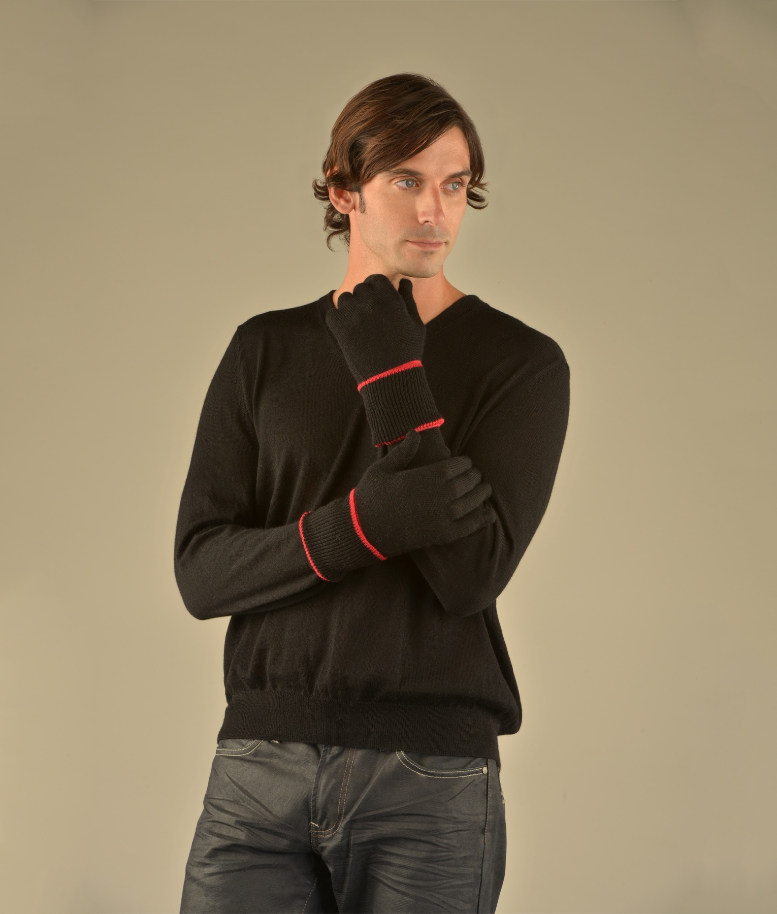 MEN'S JERSEY GLOVES WITH CONTRAST