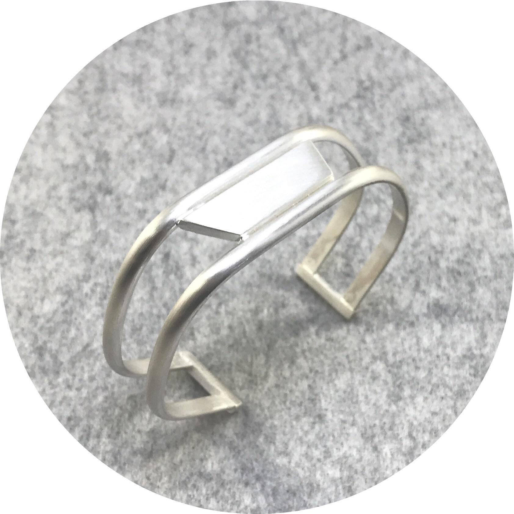 Rengin Guner- Geo Cuff. Sterling silver. Angled.