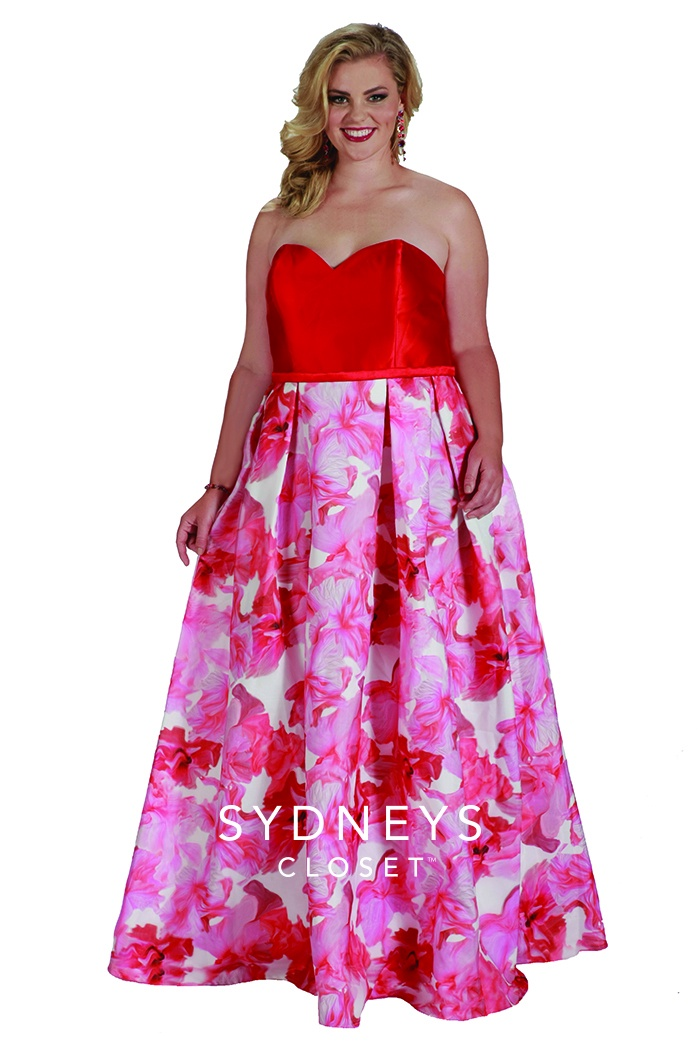 Sweetheart Floral Plus Size Gown Plus Size Prom Dresses