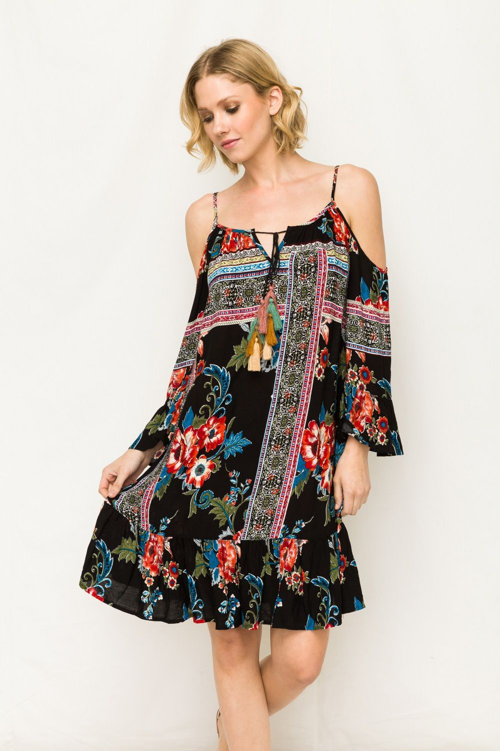 Tassel point cold shoulder print dress