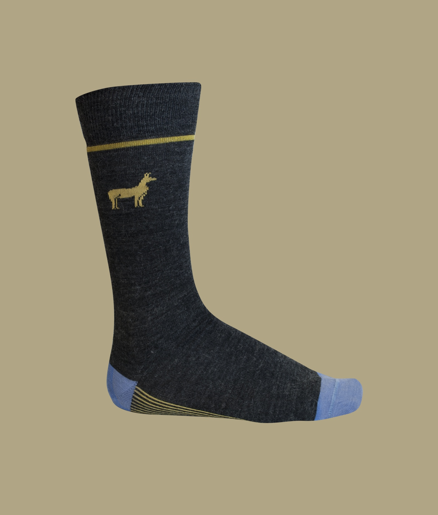 MEN'S STRIPED BI-COLOR SOCKS WITH ALPACA FIGURE