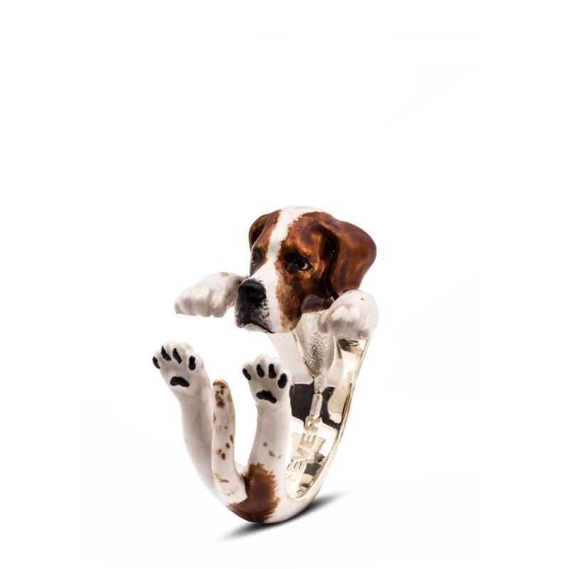 Pointer Enamelled Sterling Silver Hug Ring