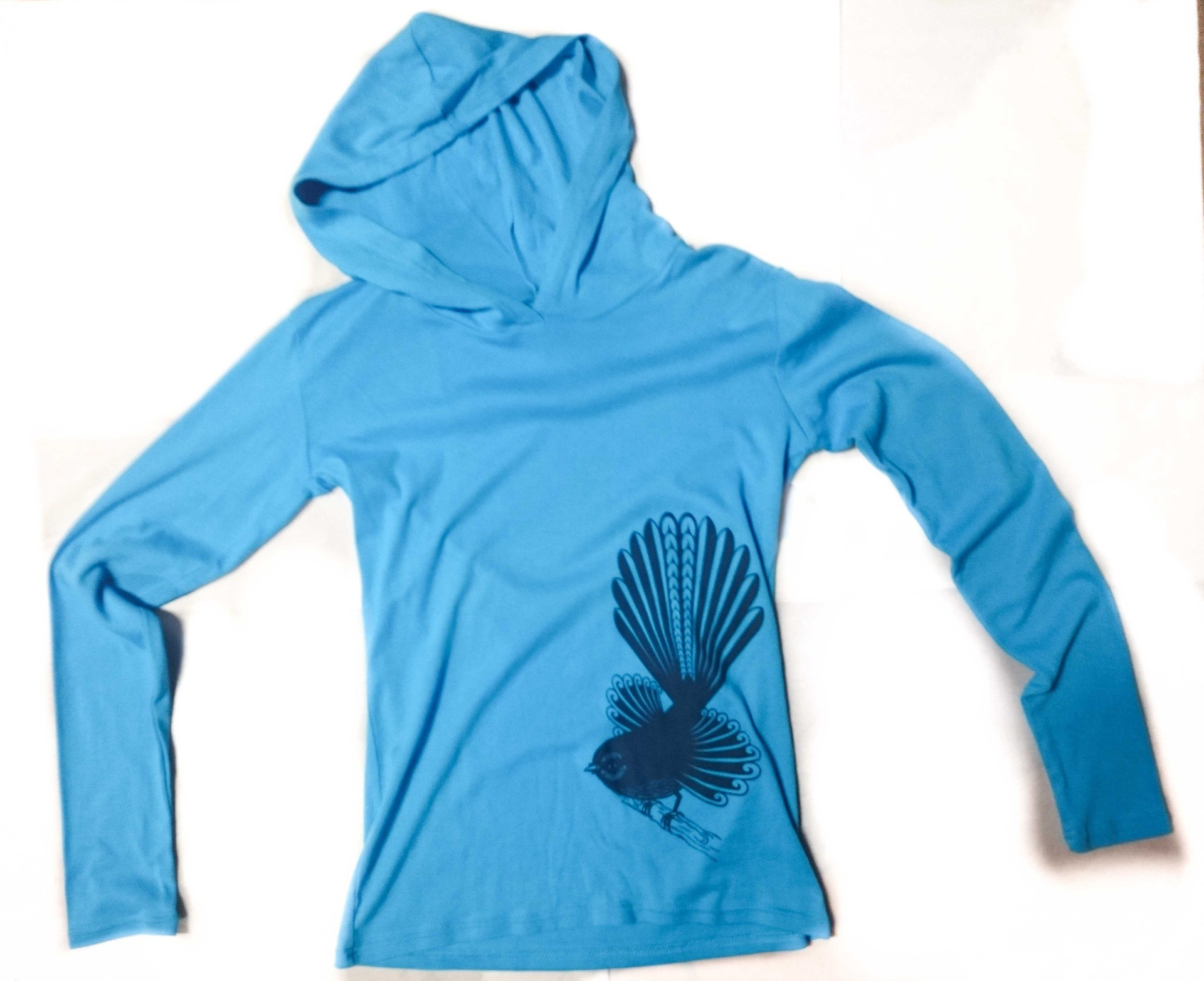 piwakawaka womens lite hoodie aqua blue