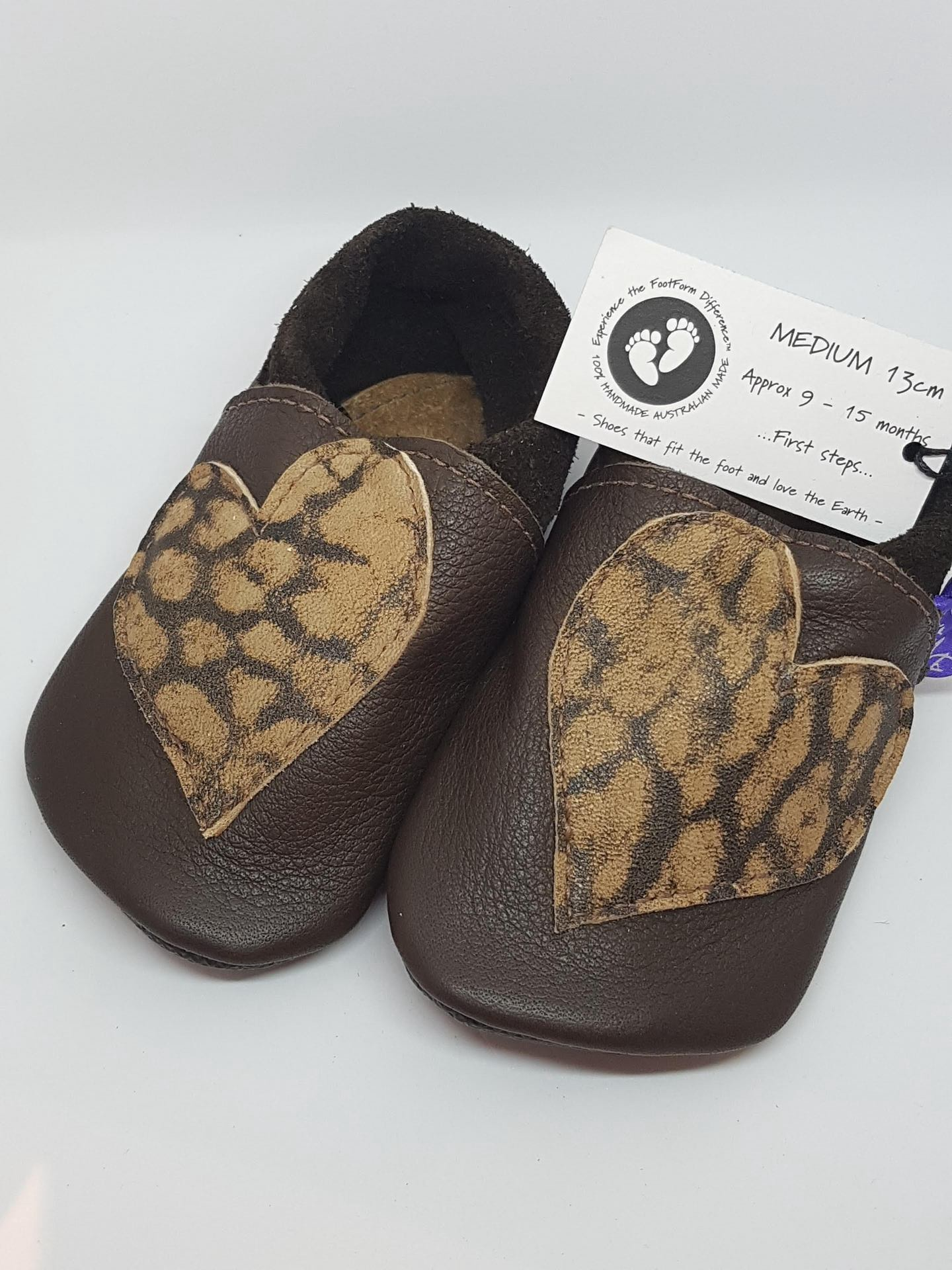 Brown Leather Toddler Shoes with suede trim and heart detail