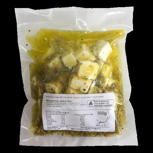 Sunhill Dairy Goats - Marinated Goat Feta Herb & Garlic 300gm