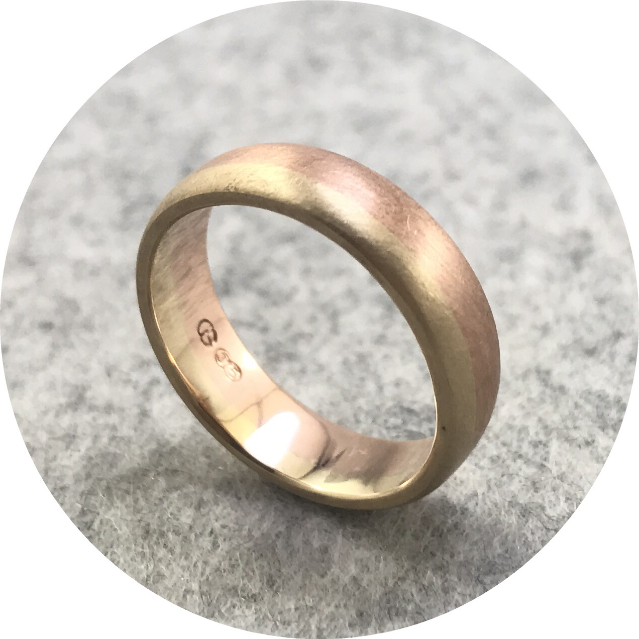 Aimee Sutanto - 'Along' Ring in 9ct Yellow and Rose Gold 5.2mm Wide