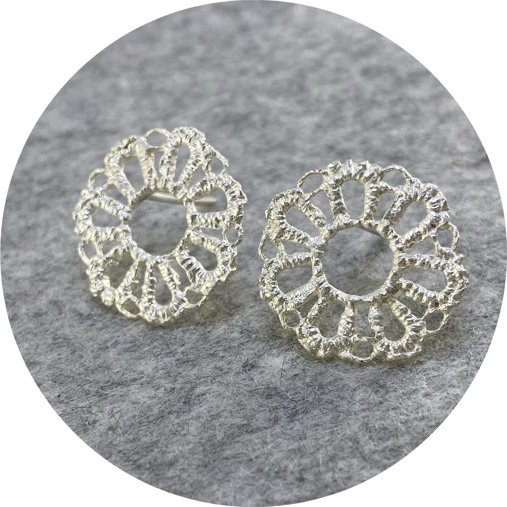 Pamela Camille- Tatted 7 petal flower studs. sterling silver.