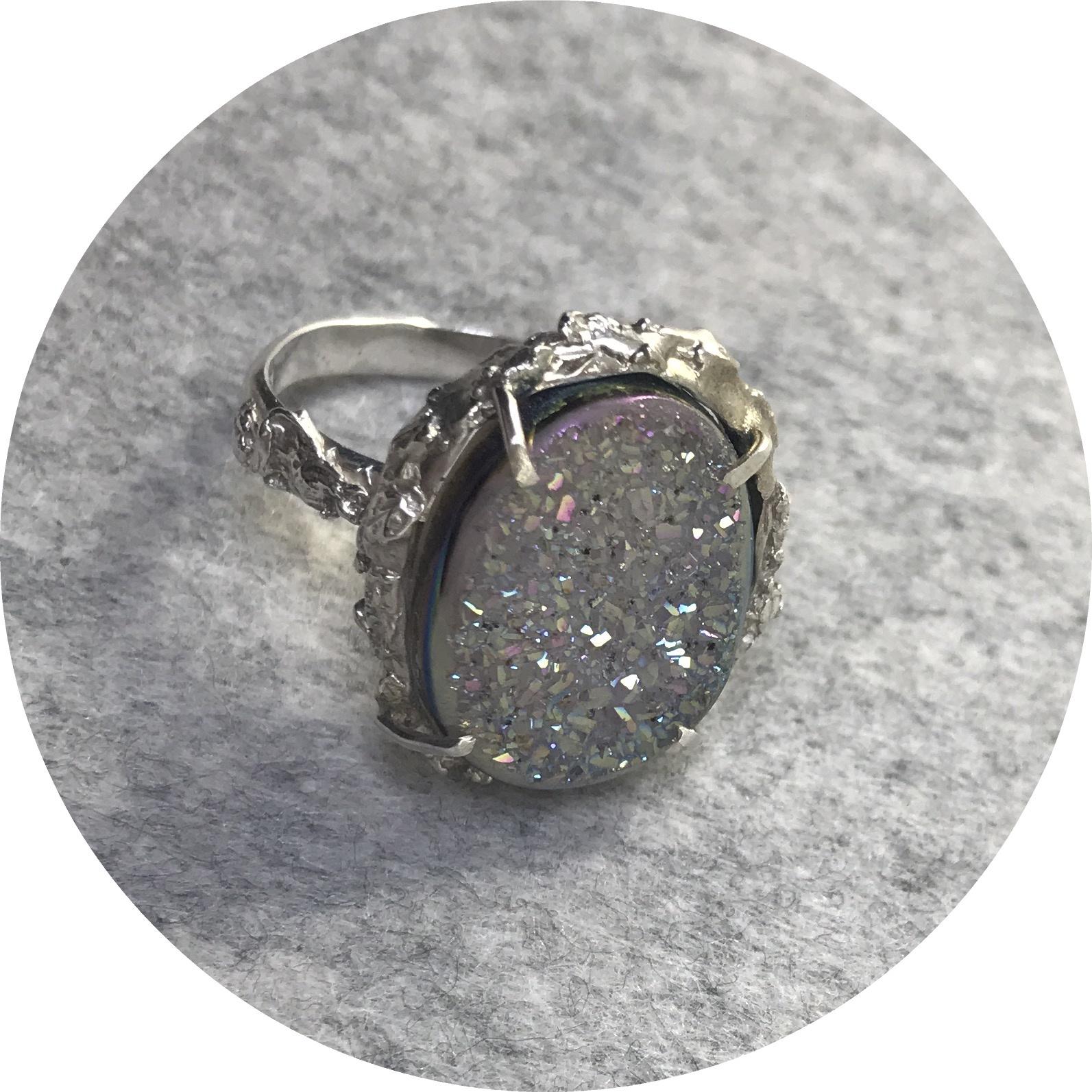 Lizzie Slattery- Druzy Ring II. Sterling silver and Druzy Quartz. size P