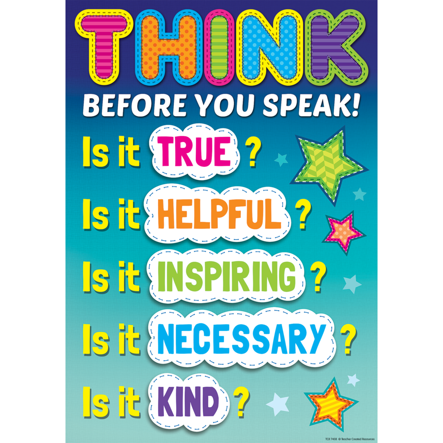 TCR 7408 THINK BEFORE YOU SPEAK POSITIVE POSTER