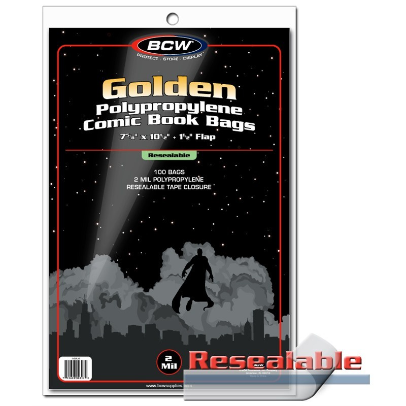 BCW Resealable Golden Comic Bags 100 Pack