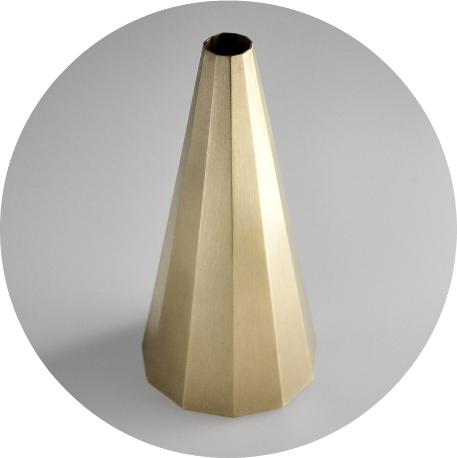 Studio Kyss- decagonal vase. Brass. Designed in Sydney by Kenny Son.